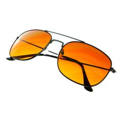 Orange Driving Lens Black Metal Aviator Sunglasses Shades A1640