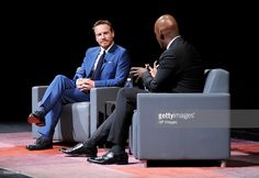 Actor Michael Fassbender (L) and TIFF Artistic Director Cameron Bailey speak…