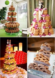 Donut Wedding Cake, Wedding Donuts, Wedding Desserts, Wedding Cakes, Donut Bar, Donut Tower, Food Stations, Krispy Kreme, Breakfast Bars
