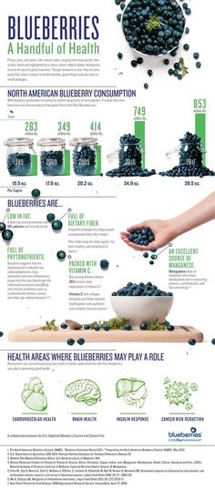 Blueberries - A Handful of Health #idealshape #blueberries #infographic