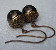Acorn Earrings Dark Brown Pearl Brass Vintaj Earwires by lil922, $10.00