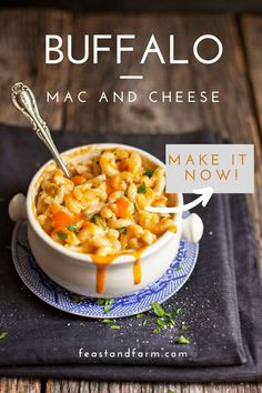 I was BLOWN AWAY with the tangy buffalo flavor in this mac and cheese. I added some chicken and made it a meal for guests and everyone raved about it! #macandcheese #easymacaroniandcheese Best Pasta Recipes, Real Food Recipes, Cheese Recipes, Buffalo Mac And Cheese, Macaroni And Cheese, One Skillet Meals, Skillet Recipes, Side Dish Recipes, Dinner Recipes