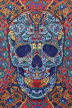 """The details in the skull will blow your mind The skull jumps right off the tapestry Corner tabs allow you to stake for outside use 60"""" X 90"""" (Twin Size) 3D glasses available separately"""