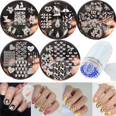 Set born pretty nail art template stamping plates clear stamper kits templates easy designs at home Nail Manicure, Diy Nails, Nail Stamper, American Nails, Born Pretty, Kit Diy, Nail Art Stamping Plates, Image Plate, Art Template
