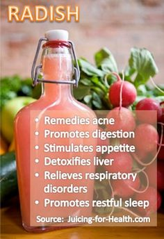 Therapeutic benefits of radish juice on the respiratory tract are countless. Due to its high content of vitamin C, B, and other minerals, it is beneficial for its anti-inflammatory, antibacterial and antiviral effects. Radish juice is effective for relieving respiratory disorders, including cold, flu, cough, asthma, bronchitis and other lung problems.  RECIPE: - 1 carrot - 1 green apple - 2 oranges - 2-3 small radish - ¼ lemon Radish may be a little strong and pungent