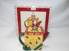 Debbie Mumm Elgin The Elf Tea Pot Mini Earthenware Christmas Holiday New Box
