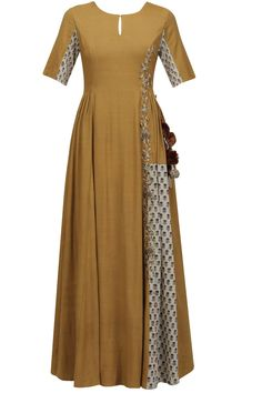 Mustard printed floral zari embroidered kalidaar anarkali kurta available only at Pernia's Pop Up Shop.