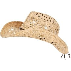 Stone Straw Cowboy Hat ($15) ❤ liked on Polyvore featuring accessories, hats, cowgirl hat, brown hat, brown cowboy hat, western hats and straw hat