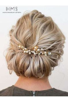 These Are The Most Stunning Short Hairstyles for Your Wedding Day: Tucked Updo with Pretty Pearls