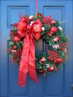 Red White Christmas Evergreen Wreath Red Bow by WreathsByRebeccaB
