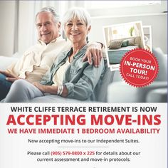 Book your in-person tour today! Located in the growing community of Courtice, White Cliffe Terrace offers extensive programs and wellness activities for both Independent and Assisted Living. Call Jeanette today to book your personal tour at 905-579-0800 😊 Senior Living Communities, Wellness Activities, Durham Region, Assisted Living, Carp, In The Heart, Evergreen, Good Times, Retirement