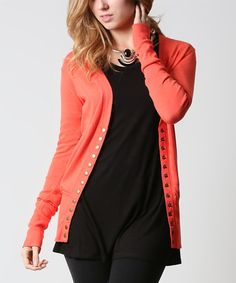 Loving this Orange Snap-Front Cardigan on #zulily! #zulilyfinds