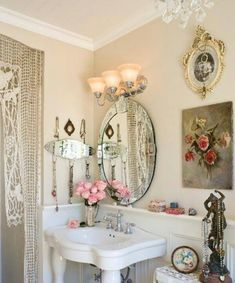 Shabby Cuteness For Small Bathrooms Bathroom Ideas Vintage Chic Mirrors