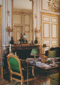 Hubert de Givenchy apartment in Paris. Louis XVI style architectural details.