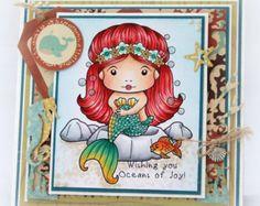 OOAK Handmade Greeting Card - Mermaid - Make a Splash! - Birthday - Girls