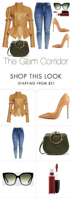 """""""Tan x Green"""" by theglamcorridor ❤ liked on Polyvore featuring Loewe, Christian Louboutin, Chloé, Gucci and MAC Cosmetics"""