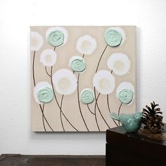 Original Flower Painting  Canvas Art with Textured by Amborela