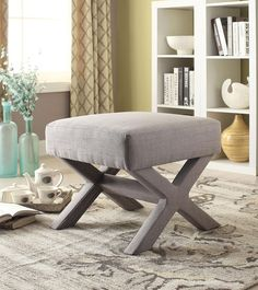 Coaster 500208 Ottoman With X Shaped Base In Grey Fabric Upholstery #CoasterFurniture