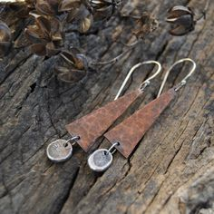 Items similar to Mixed Metal Earrings - Metalsmith Dangle Earrings - Textured Copper Jewelry on Etsy Beaded Tassel Earrings, Copper Earrings, Diy Earrings, Copper Jewelry, Leather Earrings, Leather Jewelry, Earrings Handmade, Chandelier Earrings, Gold Jewellery