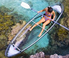 Glass bottom boat tours just got knocked down a notch thanks to these amazing clear canoes that allow you to view the marine life below you like never before with up to two people in this clear canoe! This canoe is also collapsible for easy storage.