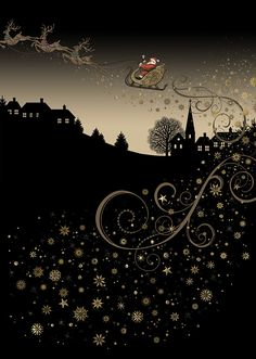 Rooftop Sleigh - christmas card design by Jane Crowther, Bug Art Christmas Time Is Here, Noel Christmas, Little Christmas, Christmas Wishes, All Things Christmas, Vintage Christmas, Christmas Crafts, Christmas Decorations, Christmas Quotes