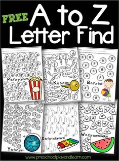 FREE A to Z Letter Find- super cute printable abc worksheets to help kids practice letter recognition of both uppercase and lowercase letters. Perfect for toddler, preschool, and kindergarten age kids alphabet preschool kindergarten 416301559305574309 Kindergarten Age, Preschool Literacy, Preschool Letters, Teaching Letters, Toddler Preschool, Preschool Crafts, Teaching Letter Sounds, Daycare Curriculum, Teaching Aids