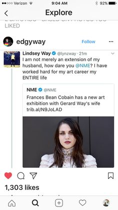 """No one knows her, it was done so people would click on the link""; if they can include Kurt Cobain daughter's name + picture, the LEAST they can do is include Lindsey's actual name. Don't discredit her work simply by referring to her as a man's property"