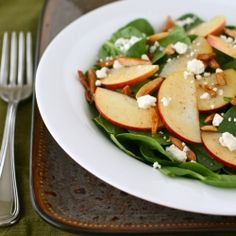 Harvest Spinach and Apple Salad with Buttered Almonds... YUM!!!