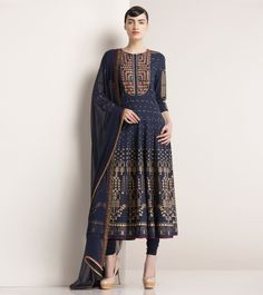 Navy Blue Printed Cotton Anarkali Suit