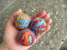 Juggling Set. 3 needle felted wool balls. Carnival