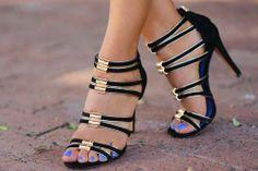 gold/black strappy heels