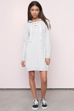 Laced Sweatshirt Dress