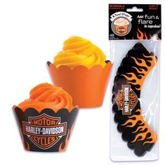 harley davidson bar and shield and flames cupcake party wrappers