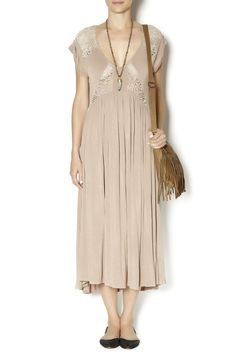 Taupe empire waist dress with crochet insets along the front and back and ruched cap sleeves. Pair with wedges or your favorite flip flops for a more casual look.   Knit Dress by POL. Clothing - Dresses - Casual Clothing - Dresses - Maxi Utah
