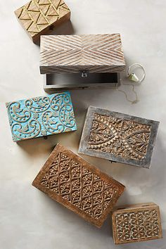 Carved Wood Jewelry Box I like the big one with the truiangles in the top middle Diy Wood Box, Diy Box, Wood Boxes, Jewellery Storage, Jewellery Display, Diy Jewelry, Jewellery Boxes, Glass Jewelry, Jewelry Trends