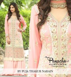 Handcrafted Georgette Peach georgette kurta topped with all over hand embroidery and hand cutwork teamed with satin silk skirt. It is a classic formal wedding wear  #panache #beautiful #dresses #formal #wedding #dress #silkdress