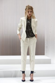 Menswear-inspired Wes Gordon SS13 pantsuit. Blouse with Swarovski Elements. Photography by Dan Lecca.