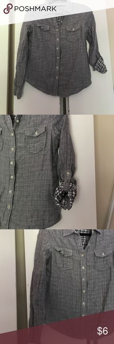 Grey flannel Grey flannel with adjustable sleeves and hook. Size large. coupe collection Tops Button Down Shirts