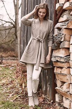 Embroidered Boiled Wool Sweater Coat #anthropologie