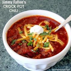 """JIMMY FALLON'S CHILI RECIPE: ~ From: """"ALL FREE SLOW COOKER RECIPES.COM"""" ~ By: """"JILL FROM FOODTASTIC MOM"""" ~ Slow Cooker Time: LOW 8 HRS. *** This classic chili recipe is hearty, made with ground beef, fresh onion and garlic, whole tomatoes, a variety of tasty spices, and amber beer--which gives it a particularly rich flavor. You can't go wrong with this slow cooker chili on a cold night."""