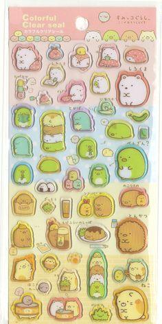 Kawaii Japan epossidica Sticker Sheet Assort: Sumikko Gurashi Clear Seal 4 caratteri