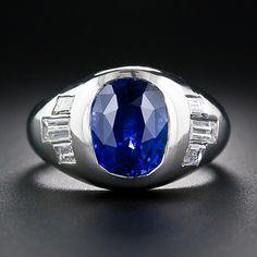Gents Platinum Sapphire and Diamond Ring