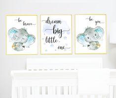Dream big , be brave Blue Gray Elephant Wall Decor, Elephant Print Canvas Stickers Print wall art Baby Boy Nursery Decor Children set of 3