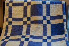 vintage quilt blue and white old hand quilted by coffeesisters