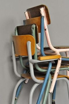 Retro battered school chairs - to kick off a little theme here of stacking chairs.