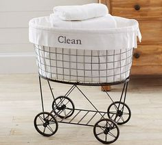 Rolling Wire Hamper & Liner #potterybarn. Anyone that knows me..knows i love love laundry hampers. I am completely obsessed with them. I want this for baby's nursery