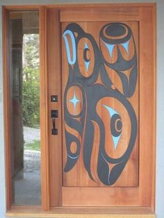 Ahtsik - Wood - Gordon Dick - Carved Red Cedar Door of Eagle and Whale