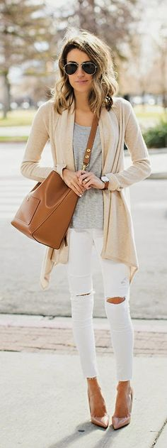 NEUTRAL MIX - Cardigans, White Denim Skinny Jeans, Grey Tee, Nude Pumps, Camel Leather Handbag