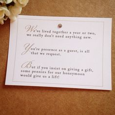 5 X Wedding Poem Cards For Invitations Money Cash Gift Honeymoon In Home Furniture Diy Supplies