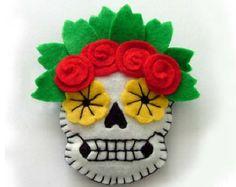 Sugar Skull Boutonniere Day of the Dead Wedding